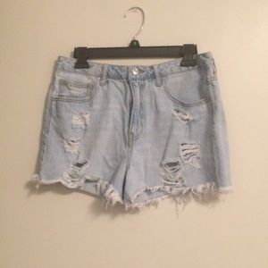 Forever 21 Ripped Light Blue Denim Shorts